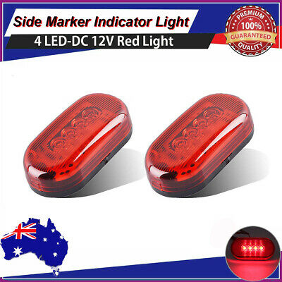 """2x Red 4"""" Clearance LED Side Marker Light 4 Diode Trailer Truck Warning Lamp AU"""