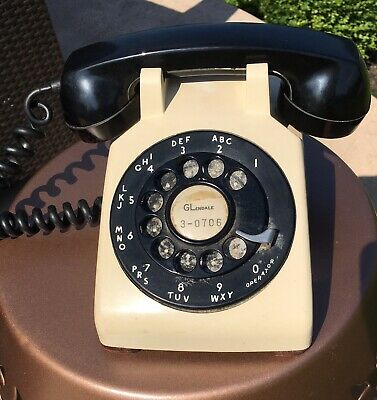 1955 Western Electric Black Tan Rotary Dial 500 Phone Telephone Desk Analog MCM