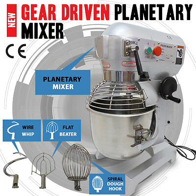 NEW 20L 3-Speed Gear Driven Food, Dough Planetary Mixer Stainless Steel Bowl