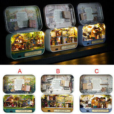 DIY Mini Tin Box Theatre Dolls House Dollhouse Miniature Kits Toy Gift AU Z2J0R