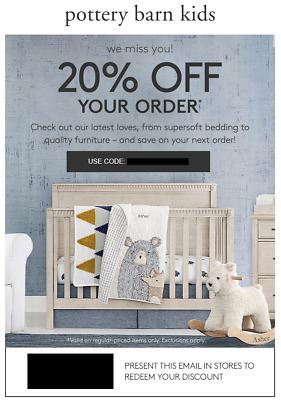 20% Off POTTERY BARN KIDS Entire Order Incl Furniture (exp. 10/20/19)  not 10 15