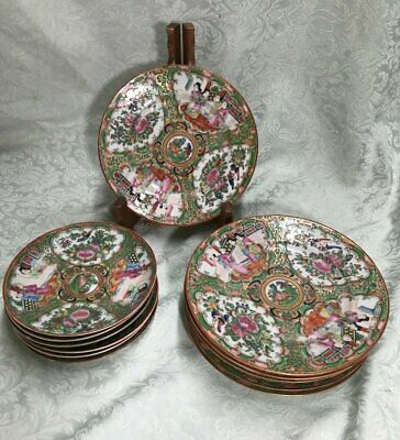 Qing, 19th CENTURY CHINESE CANTON FAMILLE ROSE, PEACH 12 Pc. Plates, Saucers