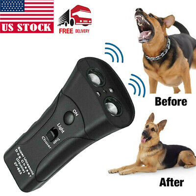 US Ultrasonic Anti Dog Barking Trainer LED Light Gentle Chaser Petgentle Sonics
