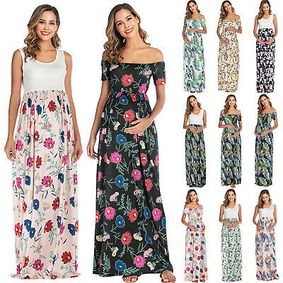 Women Pregnancy Floral Sleeveless Maxi Long Dress Maternity Formal Party Dresses