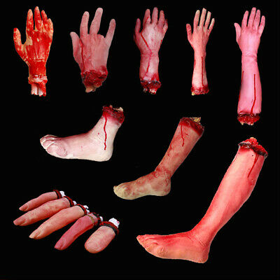 Halloween Decor Body Parts Severed Fake Arms Hands Fingers Horror Bloody Props