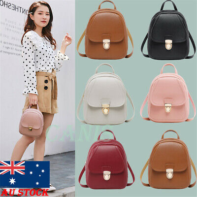 AU Women Girls Mini Faux Leather Backpack Rucksack School Bag Travel Handbag New