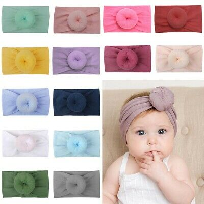 Cute Donut Elastic Hair Band Toddler Baby Kids Girls Wide Knot Turban Headband