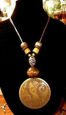 """Avenia"" Fashion Necklace Pendant, Vintage- Ethnic - Tribal- Handmade"