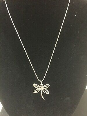 Sterling Silver Chain And Dragonfly Pendant