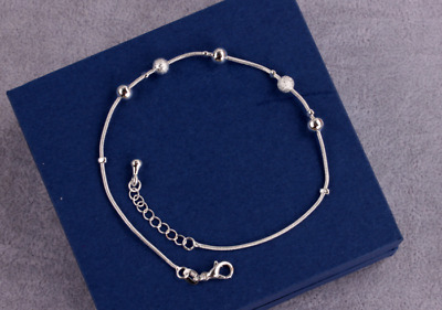 Fashion Silver Anklet Foot Bracelet Rolo Bead Adjustable with Extension Chain