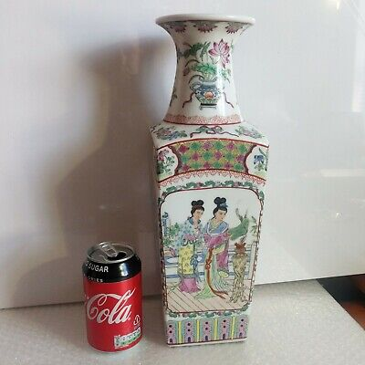 ANTIQUE CHINESE QIANLONG Famille Rose Hand painted Large Vase 19th Century