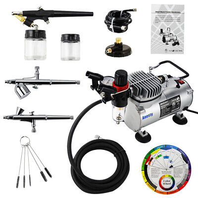 3 AIRBRUSH & COMPRESSOR KIT Dual-Action AIR BRUSH SPRAY SET Tattoo Nail Art