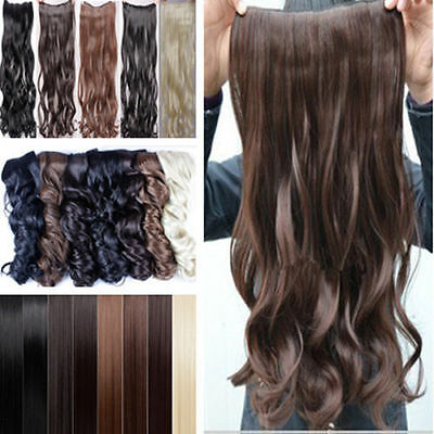 "Hair Extensions 24"" Clip Hair Extensions Half Full Head Feels like Human Curly"