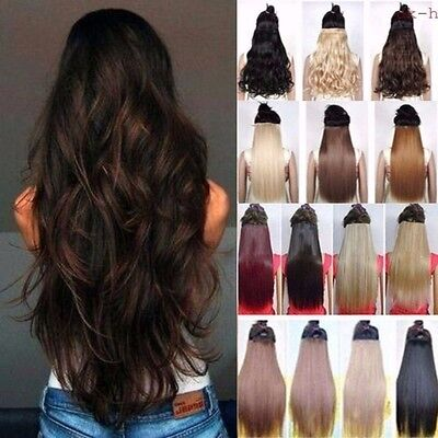 Clip In On Half Head Hair Extensions Curly Wavy Straight 1pc Ash Brown Blonde