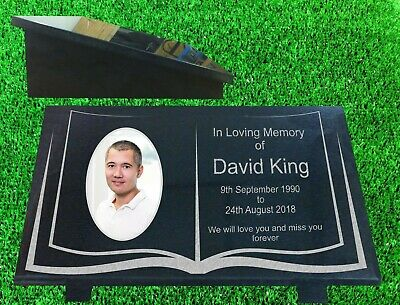 personalised granite memorial plaque grave marker with photo