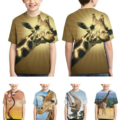 Lovely Giraffe Short Sleeve Casual T-shirt Cool Top Tees for Teens Youth Boys