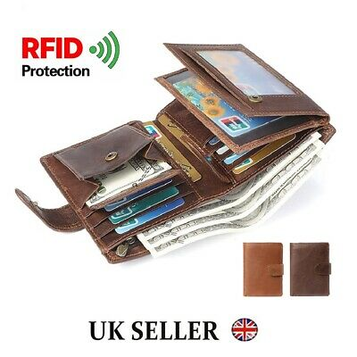 Men's Wallet Genuine Leather Trifold RFID Blocking Purse Card Holder Coin Pocket