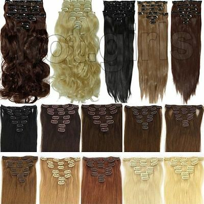Hair Extensions 15 18 22 inch short Long Full Head 8pc Clip-in hair brown Auburn