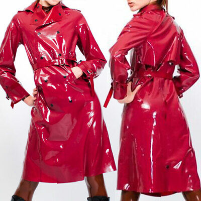 Latex 100% Rubber Gummi Windjacke Coat Lange Knopf Gürtel Top Jacket 0.4mm S-XXL