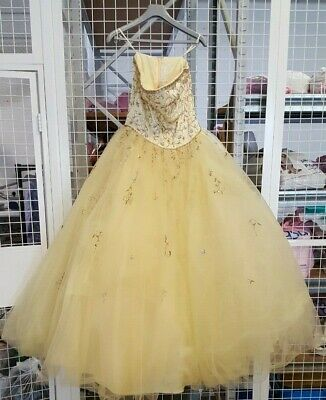 """Ladies """"Forever Yours"""" Yellow Prom Style Strapless Bead & Sequin Dress - Y1255"""