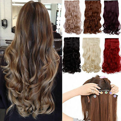 Half head clip in curly wavy straight hair extensions light ash pillar red brown