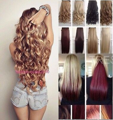 Hair Extensions Half Head Long Clip In Curly Straight Light Sand Brown Burgundy