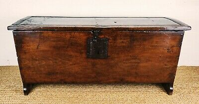 A rare 16th century English plank coffer