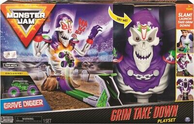 NEW Monster Jam 1:64 Grim Take Down Playset from Mr Toys