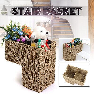 Wicker Rattan Handwoven Seagrass Stair Step Basket 2 Compartments 40x20x42cm