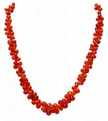 Carnelian Gemstone Faceted Drop Shaped Necklace NS1700