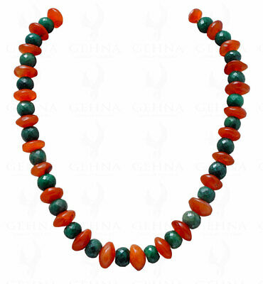 Emerald & Carnelian Gemstone Round Faceted Bead Necklace NS1149