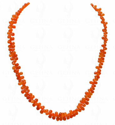 Carnelian Gemstone Faceted Drop Shaped Bead Necklace NS1138