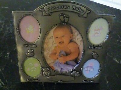 Quality Heavy Pewter 5 Photo Baby Frame on stand - EUC / LIKE NEW