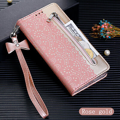 For iPhone 7 8 Xr Xs 6 Zip Wallet Bag ID Card Flip Flower PU Leather Case Cover