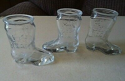 Jim Beam Shot glasses 3 Boot shaped 3 inches tall