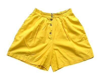 Women's Ladies Vintage High Waisted Yellow Cotton Shorts Retro 10