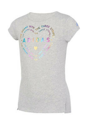 BNWT ADIDAS Girls T-Shirt with Heart-Print in Grey Size 14 Yrs or L