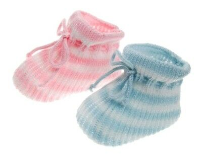 Newborn Baby Boys Girls Knitted Booties Stripy White Pink Blue Traditional Socks