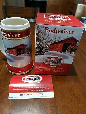 2019 and 2018 Budweiser Anheuser Busch Holiday Christmas steins  NEW and NEWEST