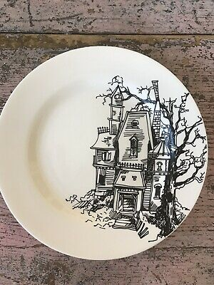 Lot # 2 Ciroa Haunted House 4 Dinner Plates Halloween Sold Out 2015 Discontinued