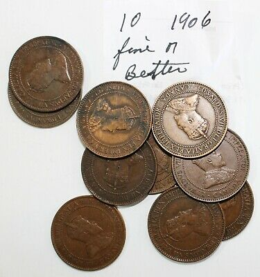 10 Coin Lot 1906 Canada Large Cent Coins Fine or Better Grades 1c Canadian K57