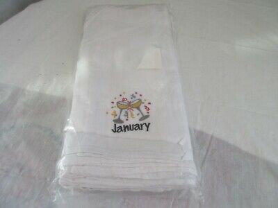 Lot 12 Tea Dish Towels Monthly Embroidery -  White
