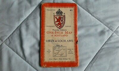Ordnance survey popular edition: one-inch, Oban & Loch awe #61 1946