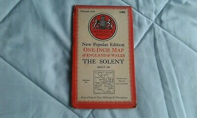 Ordnance survey map popular edition. one-inch, The Solent #180, 1945