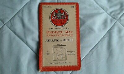Ordnance survey map popular edition: one-inch, Askrigg & Settle #90 1947