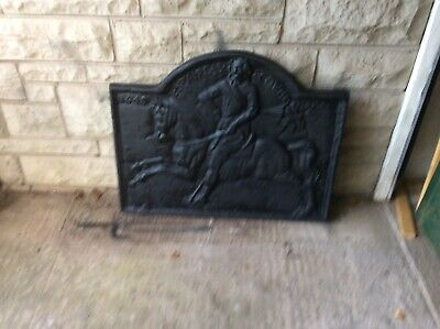 Large Cast Iron 1649 Antique Fire Back Plate