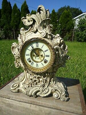 Antique Ansonia Rococo Porcelain Face Mantle Clock Baroque 8 day Cast 1881