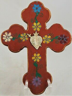 Wood Hanging Cross/Milagros Mexican Folk Art Hand Crafted Religious Sacred Heart
