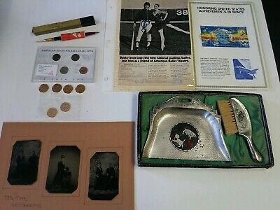 Junk Drawer Coin Lot 5/5 Coins Tin type Photos Stamps Autographed Bucky Dent
