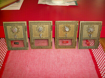 Four Vintage Brass Post Office Box Doors w/ Frame & Combination Instructions